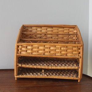 vtg 1970s wicker rattan woven desk storage